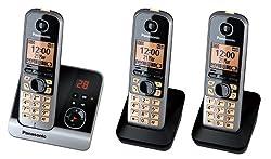 Panasonic KX-TG6723GB Trio Schnurlostelefon mit 2 zusätzlichen Mobilteilen (4,6 cm (1,8 Zoll) Display, Smart-Taste, Freisprechen, Anrufbeantworter) schwarz/silber