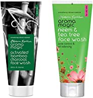 Aroma Magic Activated Bamboo Charcoal Face Wash, 100ml and Aroma Magic Neem And Tea Tree Face Wash, 100ml
