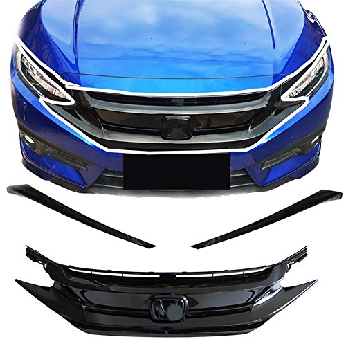baodiparts 1 Satz Glossy Cool Black Frontstoßstange Center Hood Grille Grill + Light Brow