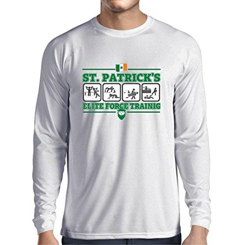 Langarm Herren t shirts St. Patricks Elite Force, St. Pattys Tag Irish Shamrock (XX-Large Weiß Mehrfarben) (Logo Langarm-jagd-t-shirt)