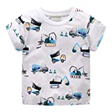 JUTOO Kleinkind Kinder Baby Jungen Sommer Kleidung Kurzarm niedlichen Cartoon Muster Tops t-Shirt Bluse (Weiß 1,5T)