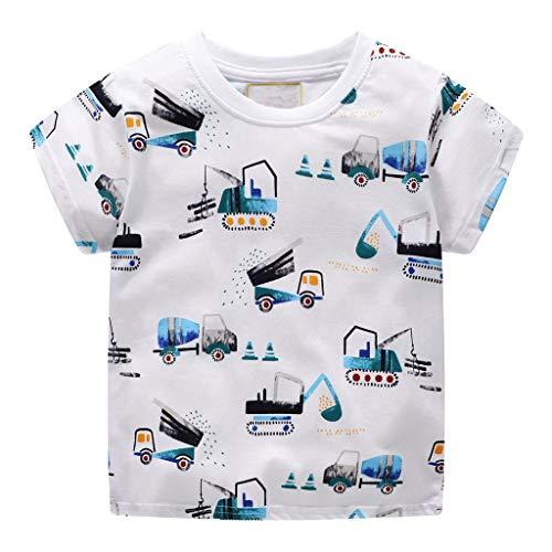 er Baby Jungen Sommer Kleidung Kurzarm niedlichen Cartoon Muster Tops t-Shirt Bluse (Weiß 1,5T) ()