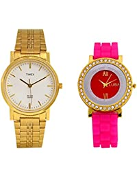 Timex White Dial Watch In Golden Chain Men's Watch With Free Ladies Silicon Watch - [TIMEX001]