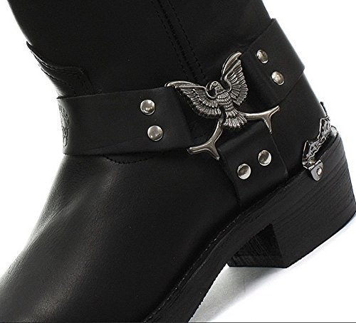 Grinders eagle emblema Biker Eleganti Stivali neri in caviglia e Metˆ di-Vitello Gamma nero Hi