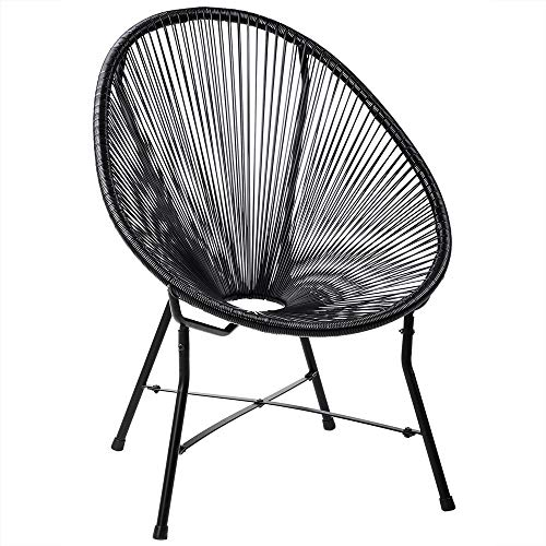 Deuba Acapulco Sessel Stuhl schwarz | Retro Design | Indoor & Outdoor | Wetterfest & Pflegeleicht | Gartenstuhl Chair