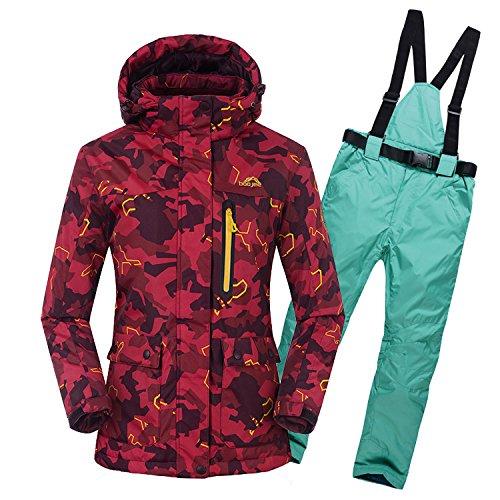 HUA&X Frauen Mantel ski Jacke hose Anzug wasserdichte Regenjacke warme zipper Hosen verdickt, XXL, See Blau