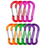 TITECOUGO Carabiner Keychain,Aluminum D-Ring Locking Carabine D-Shape Lock Snap Backpack Water Bottle Keychain Climbing Gear Accessories edc Camping Tent Multi Function Tool Multiple 5 Colors Bx2