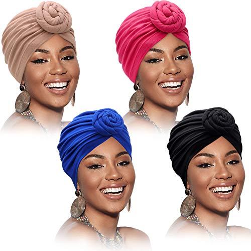 4 Pièces Bandeau à Motif Africain Bonnet Pré-Attaché Bonnet Turban Nœud (Couleur Pure)