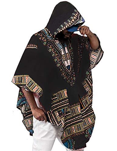 Daupanzees Herren Kapuzenpullover mit afrikanischem Aufdruck Dashiki Shirts Poncho Cape Kapuzenpullover Mantel - schwarz - - Kulturell Passenden Kostüm