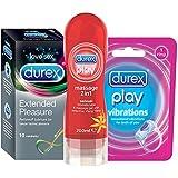 Durex Pleasure Pack (Extended Pleasure Condoms - 10 Count, 2 in 1 Sensual Lubricating Gel - 200 ml, Play Vibrations Ring)