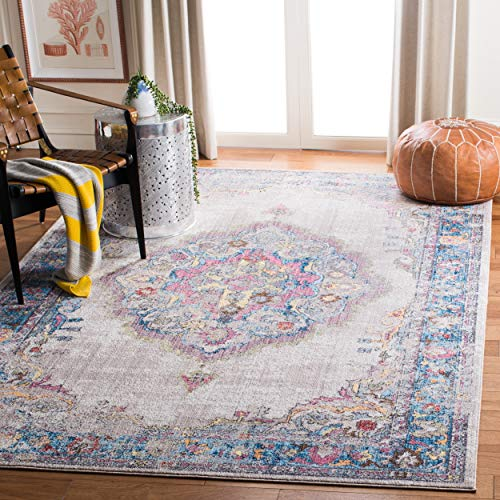 Safavieh Eleganter Teppich, BTL343, Gewebter Polyester, Hellgrau / Blau, 90 x 150 cm - Safavieh Transitional Teppiche