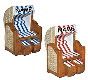 1 Stück _ 3-D Figur Strandkorb blau / rot weiß incl. Namen – z.B. als Tischdeko – Mini Deko Dekofigur Ostsee Meer Nordsee Maritim Klein – Nordsee Strandkörbe Urlaub Meer