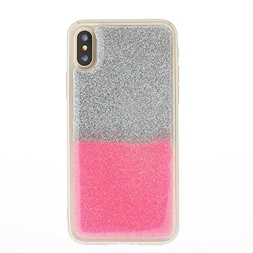 Custodia iPhone X Cover iPhone X Alfort Case Bicolor gradiente Morbida Silicone TPU Molle Impermeabile Prevenire Graffi Con polvere flash ( Argento - Rosso ) Argento - Rosa