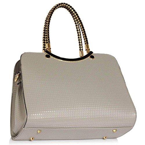 TrendStar Damen Stilvolle Ergreifen Sie Schultertasche Frauen Entwerfer Faux Leder Promi Art-Tasche Grau Taschen