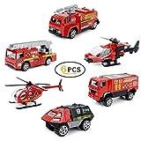 Joy-Fun Spielzeug Fahrzeuge Druckguss Spielzeug Fahrzeuge Set 6 Pack Feuerbekämpfung Spielzeug Modellautos Geschenke für 5-6 Jahre Alten Jungen Kinder Weihnachten Geburtstagsgeschenke