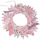 G2PLUS Large Fabric Bunting Banner, 32.8 Feet Triangle Flag Garland 36PCS Floral Pennants, Double Sided Vintage Cloth Shabby Chic Decoration Wedding Birthday Parties