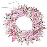 G2PLUS Banner tessuto Bunting, 32.8 piedi triangolo bandiera ghirlanda con 36PCS floreale gagliardetti, doppia faccia Vintage panno Shabby Chic decorazione per matrimoni feste di compleanno
