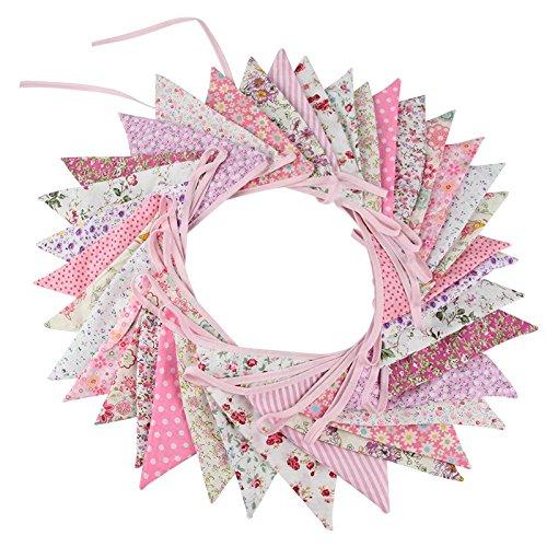 itig Wimpel Girlande, 10M Bunting Wimpelkette mit 36 STK Farbenfroh Wimpeln für Hochzeits Geburtstag Party (Rosa) ()