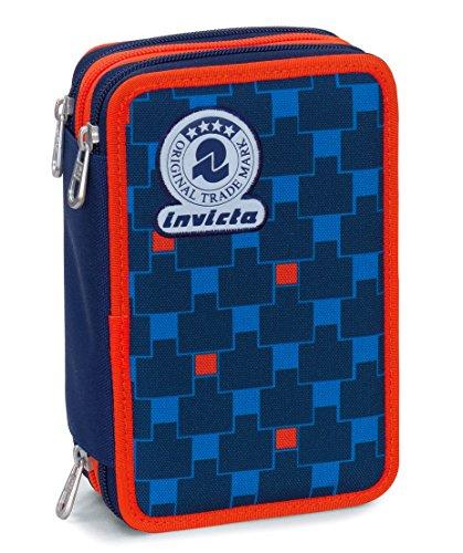 Astuccio 3 zip invicta , check , blu rosso , con contenuto: matite, pennarelli ..., poliestere