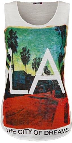 WearAll - 'LA' imprimé débardeur top avec col rond et sans manches - Hauts - Femmes - Tailles 36 à 42 Blanc