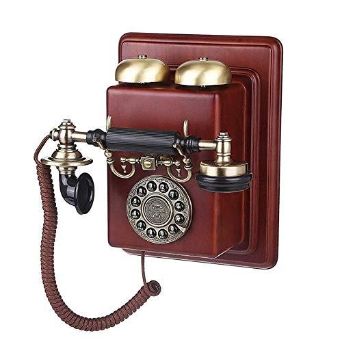 Antike Massivholz (CN Schnurgebundene Telefone Europäische Antike Wandtelefone Zu Hause Retro Massivholz Wand Retro Telefon,A,Einheitsgröße)