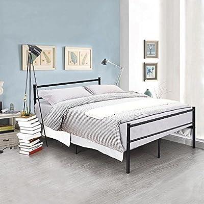 Teda2017 Bed Frame Modern Metal Bed Frame 4ft6 Double Black Bedstead