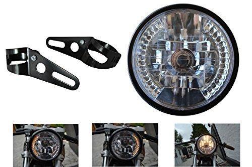 Faro Anteriore Nero Universale per Moto con incluse frecce LED e Supporti Forcella diametro 7 pollici 12V 35W
