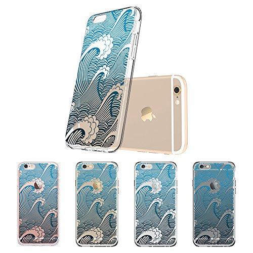 Coque iPhone 6s Mandala, ESR iPhone 6 / 6 S Coque Silicone Transparente Motif Mandala Tribal Fleur Henné Imprimé, Housse Etui de Protection Bumper Premium [Anti Choc] [Ultra Fine] [Ultra Léger] pour A Vague Ukiyo-e