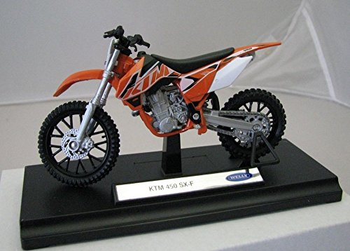 Preisvergleich Produktbild DieCast Modell Motorrad KTM 450 SX F orange metall Welly Motorradmodell 1:18
