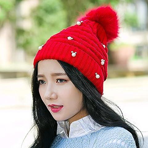 Invernale da donna con fodera in pelliccia sintetica sfera Warm Hat Crochet maglia di lana Cap
