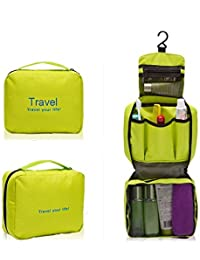 Swarish Portable Toiletry Travel Pouch Zipper Storage Hanging Bag Pouch-Green