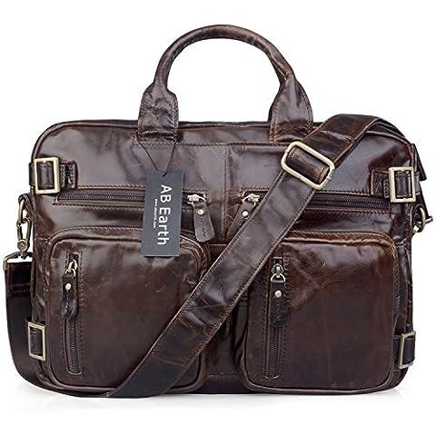 AB Earth Malette pour Homme en Cuir Véritable sac d'ordinateur portable sac de messager Besace Cuir Homme Sac à Bandoulière Ordinateur Portable 15.7