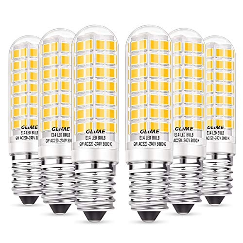 GLIME E14 LED Lampe 6W LED Leuchtmittel statt 60W Halogenlampe 88 LEDs Glühlampe 550lm Warmweiß Birne 360° Abstrahlwinkel Energiesparlampe für Kühlschrank Kronleuchte Wandlampe Nicht-dimmbar 6 PCS