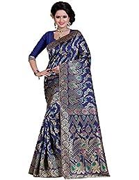 a2347a81c280aa Wedding Villa Women s Banarasi Silk Saree With Blouse Piece  (AF 27 Blue Colour)