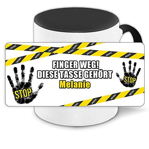 Büro-Tasse mit Namen Melanie und schönem Motiv - Nr. 3 - Finger weg , diese Tasse gehört ... , Farbe: schwarz 8