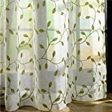 Generic Embroidery Leaves Sheer Tulle Curtains for Living Room Kitchen Window Voile Sheer