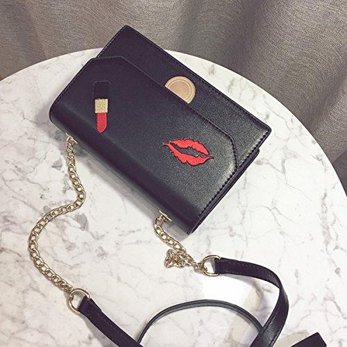 Weibliche kleine quadratische tasche wilde Kette Schulter tasche mode messenger tasche mund Rot Stickerei thread Schwarz
