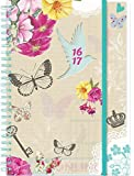 2016 2017 A5 Page A Day Spiral Bound Academic Student Fashion Diary - Floral with Blue Bird