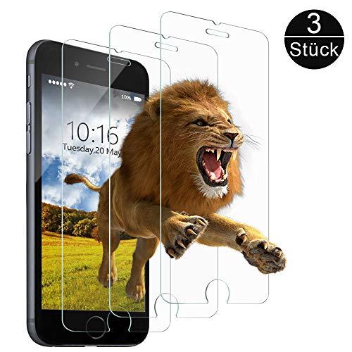 wsky Panzerglasfolie Kompatibel mit iPhone 6/6S [3 Stück], 9H Härte, 3D Touch kompatibel Schutzfolie, HD Anti-Kratzer Anti-Fingerabdruck-Displayschutzfolie(4,7 Zoll)