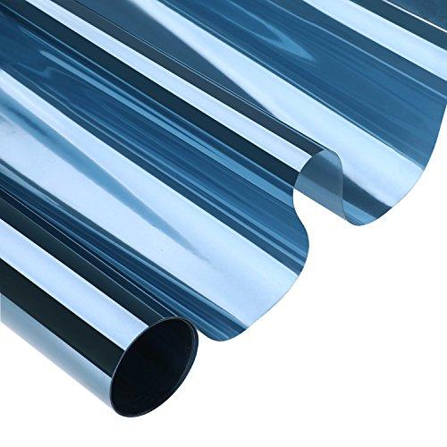 KINLO 75cm x 300cm Transparent-blau Sonnenschutzfolie für Fenster Sichtschutz und Hitzeschutz blockt 99% der UV-Strahlen Fensterfolie Spiegelfolie