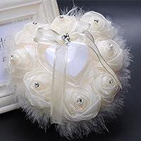 Kicode Perla Avestruz Romántico elegante En forma de corazón Anillo almohada Regalo de la caja de cojín Suministros de boda