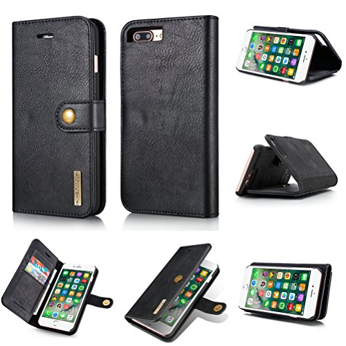 Cover iPhone 8 Plus, Bestsky 2 in 1 Custodia iPhone 7 Plus Portafoglio Cover di Pelle Cuoio Flip Cover Antiurto con Supporto 360 Gradi Protezione Case per Apple iPhone 7 Plus/8 Plus, Marrone Nero