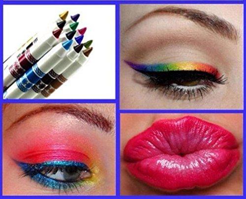 Amlaiworld Schmink Pinsel, Frau Glitter Lipliner Lidschatten Eyeliner Stift Make-up Kosmetik-Sets 12 Farben