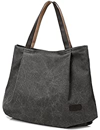 BYD - Mujeres Large School Bag Bolsos totes Shopping Bag Canvas Bag Color puro Carteras de mano