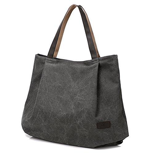 BYD - Damen Large Schule Bag Tote Bag Shopper handtaschen Canvas Bag Reine Farbe Handtaschen (Canvas Louis Vuitton Handtasche)