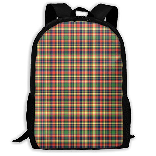 Proud Clothing Hawaii Flower Plaid Adult Travel Backpack School Casual Daypack Oxford Outdoor Laptop...