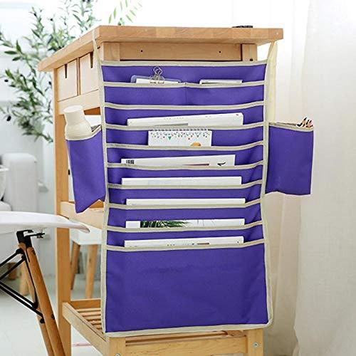 ZHAOLV Einstellbare Stationery Organizer Studenten Klassenzimmer Schreibtisch Hängende Bücher Dateien Stift Aufbewahrungstasche mit (Color : Purple)
