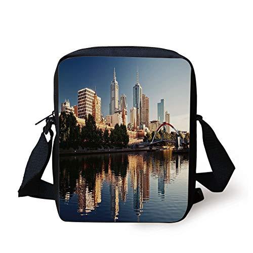 ZKHTO City,Idyllic View of Yarra River Melbourne Australia Architecture Tourism,Dark Blue Ivory Dark Green Print Kids Crossbody Messenger Bag Purse