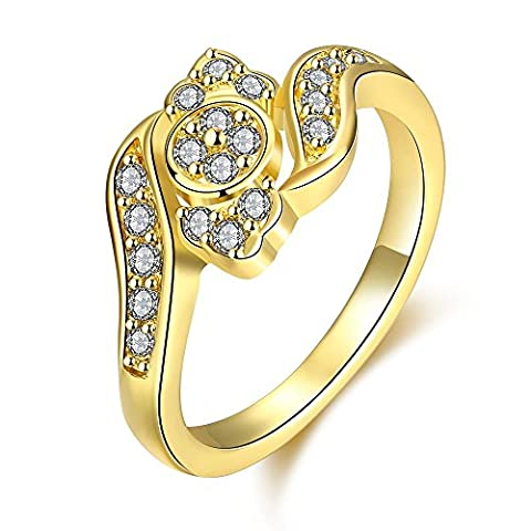 Thumby Round Zircon Ring for Women,Gold Plated,8