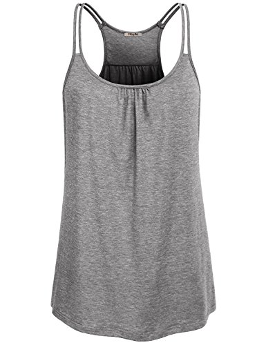 Hibelle Damen Tanktops, Damen Relaxed Fit Feuchtigkeitstransport Workout Shirt Active Übung Kleidung Lose Tank Tops Hellgrau XXL
